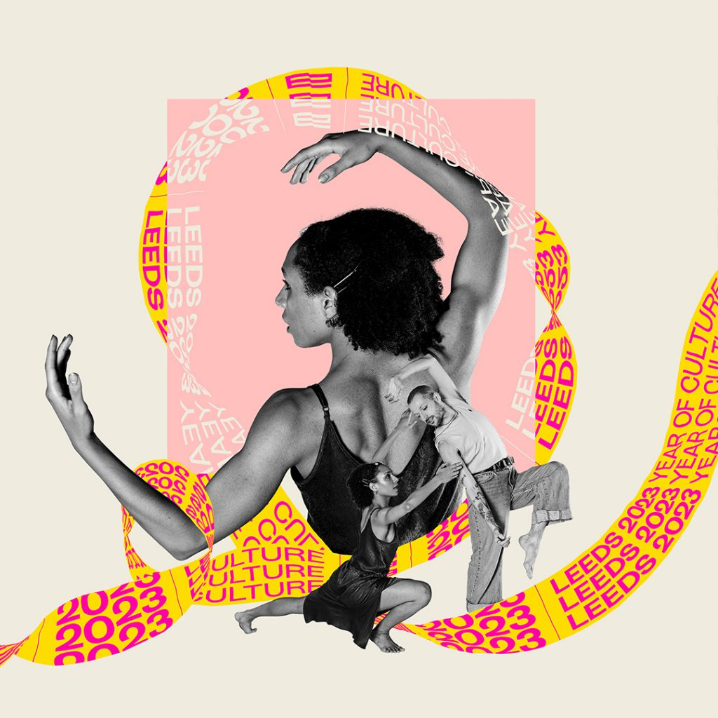 A male and a female dancer perform as a giant yellow ribbon with the words Leeds 2023 on it swirls around them. The woman is crouching down on the floor and supporting the man, who is leaning back with his arms above his head. This image is part of the Leeds 2023 branding.